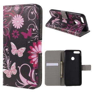 For Huawei P Smart / Enjoy 7S Pattern Printing PU Leather Magnetic Wallet Stand Protective Phone Case - Pink Flower and Butterfly