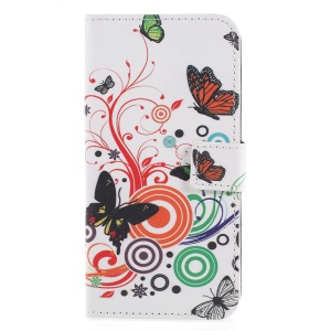 Pattern Printing PU Leather Wallet Stand Protective Phone Shell with Magnet for Huawei P Smart / Enjoy 7S - Butterfly