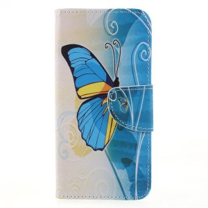 Cross Texture Pattern Printing Leather Wallet Folio Cover for Huawei Honor 9 Lite / Honor 9 Youth Edition - Blue Butterfly