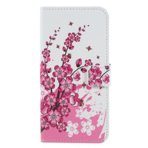 Pattern Printing PU Leather Magnetic Wallet Stand Protective Cell Phone Shell for Huawei Honor 9 Lite/9 Youth Edition - Peach Flower
