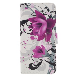Pattern Printing PU Leather Magnetic Wallet Stand Flip Shell for Huawei Honor 9 Lite/9 Youth Edition - Purple Flower