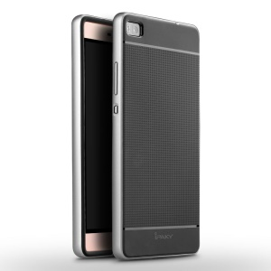 IPAKY for Huawei Ascend P8 Hybrid Shield PC Bumper + TPU Cover - Silver