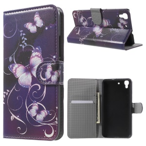 Diary Style Wallet Leather Cover for Huawei Honor 4A / Y6 - Purple Butterfly
