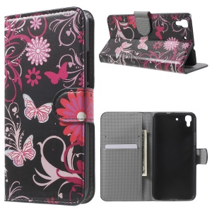 Diary Style Stand Leather Shell for Huawei Honor 4A / Y6 - Butterflies and Flowers
