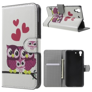Protective Leather Stand Case for Huawei Honor 4A / Y6 - Sweet Owl Family