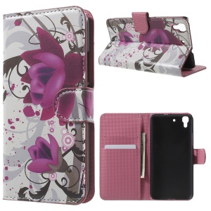 Protective Leather Wallet Shell for Huawei Honor 4A / Y6 - Kapok Flower