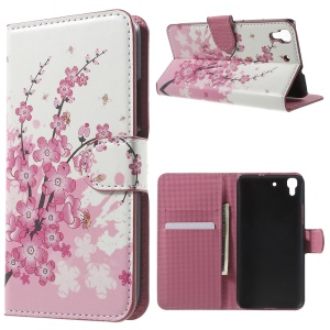 Card Holder Stand Leather Case for Huawei Honor 4A / Y6 - Plum Blossom
