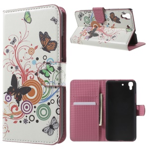 Card Holder Stand Leather Cover for Huawei Honor 4A / Y6 - Butterflies and Circles