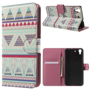 PU Leather Card Holder Case for Huawei Honor 4A / Y6 - Triangles Pattern