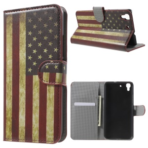 PU Leather Wallet Stand Cover for Huawei Honor 4A / Y6 - Vintage US Flag
