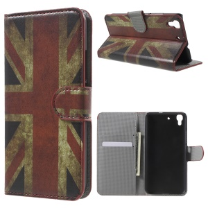 PU Leather Wallet Stand Shell for Huawei Honor 4A / Y6 - Retro UK Flag