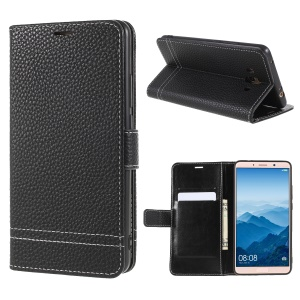 Litchi Texture Wallet Stand Leather Phone Case for Huawei Mate 10 - Black