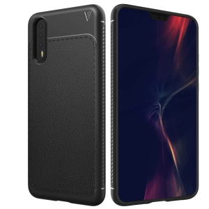 LENUO Litchi Skin TPU Back Case for Huawei P20 Pro - Black