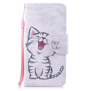 Pattern Printing PU Leather Magnetic Wallet Stand Protective Mobile Phone Shell for Huawei Honor 9 Lite/9 Youth Edition - Cat
