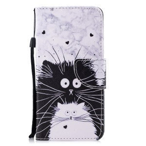 Pattern Printing Leather Wallet Case for Huawei Mate 10 Pro - Black and White Cat
