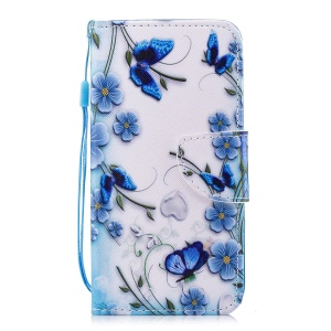 Pattern Printing PU Leather Magnetic Wallet Stand Protective Mobile Phone Cover for Huawei Y6 (2017)/Y5 (2017) - Blue Flower