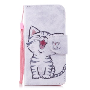 Pattern Printing PU Leather Magnetic Wallet Stand Protective Cell Phone Cover for Huawei Y6 (2017)/Y5 (2017) - Cat