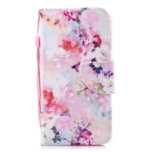 Pattern Printing PU Leather Magnetic Wallet Stand Protective Flip Shell for Huawei Y6 (2017)/Y5 (2017) - Beautiful Flower