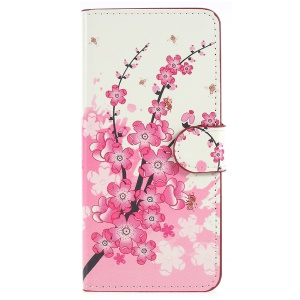 Pattern Printing Stand Leather Magnetic Wallet Cover Shell for Huawei P Smart / Enjoy 7S - Plum Blossom