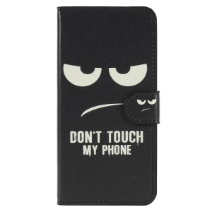 Pattern Printing PU Leather Stand Shell with Wallet for Huawei P20 - Do Not Touch My Phone