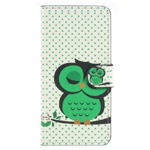 Pattern Printing PU Leather Mobile Casing with Card Holder for Huawei P20 - Sleeping Owl on the Branch