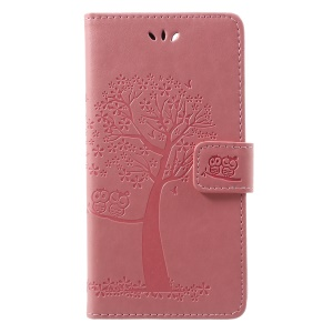 Imprint Tree Owl Pattern PU Leather Wallet Stand Phone Cover for Huawei P Smart / Enjoy 7S - Pink