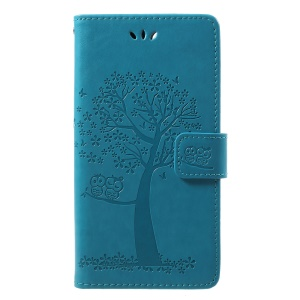 Imprint Tree Owl Pattern PU Leather Protection Cover Shell for Huawei P Smart / Enjoy 7S - Blue