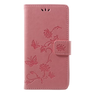 Imprint Butterfly Flower Wallet Stand Leather Phone Case for Huawei P Smart / Enjoy 7S - Pink