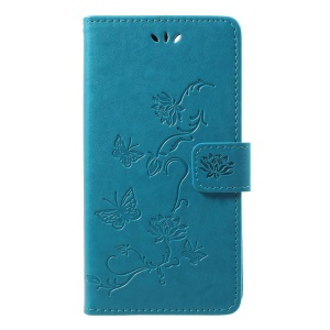 Imprint Butterfly Flower Wallet Stand Leather Phone Cover for Huawei P Smart / Enjoy 7S - Blue