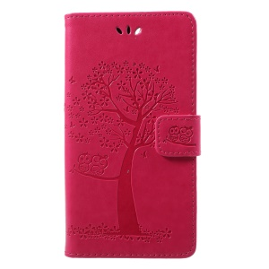 Imprint Tree Owl Pattern Wallet Leather Shell for Huawei Honor 9 Lite / Honor 9 Youth Edition - Rose