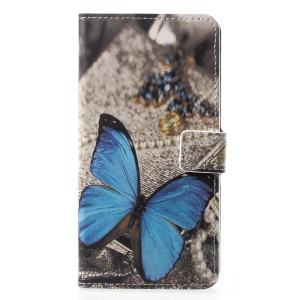 Pattern Printing Wallet Stand Leather Shell for Huawei P20 Pro - Blue Butterfly
