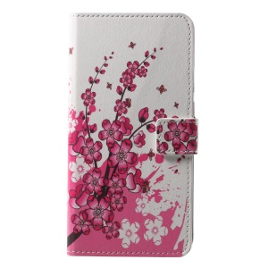 Pattern Printing Wallet Stand Leather Folio Cover Case for Huawei P20 - Plum Blossom