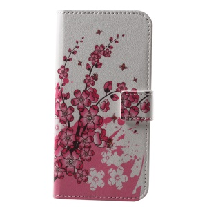 Patterned Wallet Stand Leather Mobile Case for Huawei P20 Lite / Nova 3e - Plum Blossom