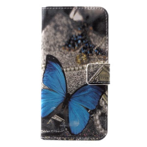 Pattern Printing Wallet Stand Leather Mobile Cover for Huawei P20 Lite / Nova 3e - Blue Butterfly