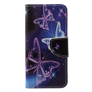 Pattern Printing Leather Wallet Phone Case with Card Holders for Huawei P20 Lite / Nova 3e - Vivid Butterflies