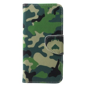 For Huawei P20 Lite / Nova 3e Pattern Printing Leather Wallet Stand Cover with Card Slots - Camouflage Pattern
