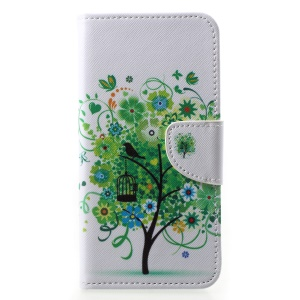 Pattern Printing Leather Wallet Shell Case for Huawei P20 Pro - Green Tree
