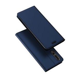 DUX DUCIS Skin Pro Series Card Holder Stand Leather Mobile Casing for Huawei P20 Pro - Dark Blue