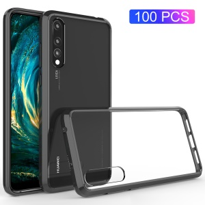 100Pcs/Lot for Huawei P20 Pro Drop-resistant Clear Acrylic + TPU Hybrid Phone Casing - Black