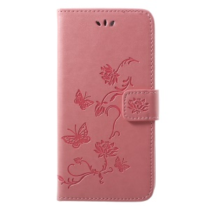 Imprint Butterfly Flower Wallet Stand Leather Phone Case for Huawei P20 - Pink