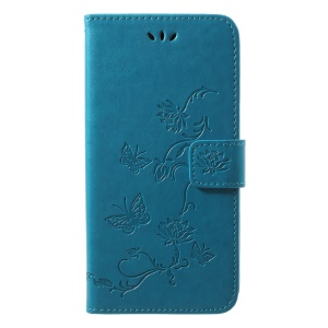 Imprint Butterfly Flower Wallet Stand Leather Mobile Case for Huawei P20 - Blue