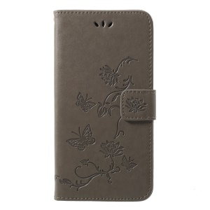 Imprint Butterfly Flower Wallet Stand Leather Cover for Huawei P20 Pro - Grey