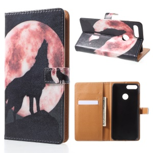 Pattern Printing PU Leather Wallet Stand Phone Case for Huawei Honor 9 Lite/9 Youth Edition - Wolf Howling at Full Moon Night
