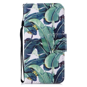 Pattern Printing Wallet Leather Cell Phone Cover for Huawei Mate 10 Lite/nova 2i/Maimang 6/Honor 9i (India) - Banana Tree