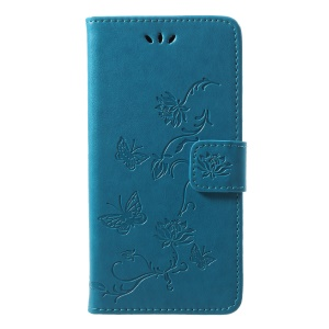Imprint Butterfly Flower Card Holder Leather Phone Casing for Huawei P20 Lite / Nova 3e - Blue