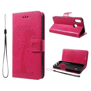 Imprint Tree Owl Pattern Wallet Stand Leather Case for Huawei P20 Lite / Nova 3e - Rose