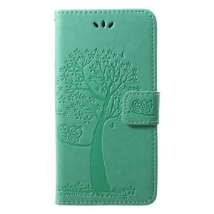Imprint Tree Owl Pattern PU Leather Wallet Stand Phone Case for Huawei P20 Lite / Nova 3e - Cyan
