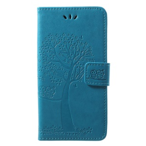 Imprint Tree Owl Pattern PU Leather Wallet Stand Phone Cover for Huawei P20 Lite / Nova 3e - Blue
