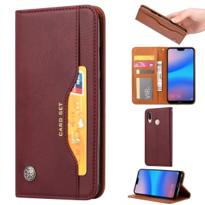 Auto-absorbed Leather Stand Protective Cover for Huawei P20 Lite / Nova 3e - Wine Red