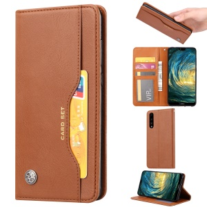 Auto-absorbed Leather Wallet Stand Case Accessory for Huawei P20 - Brown